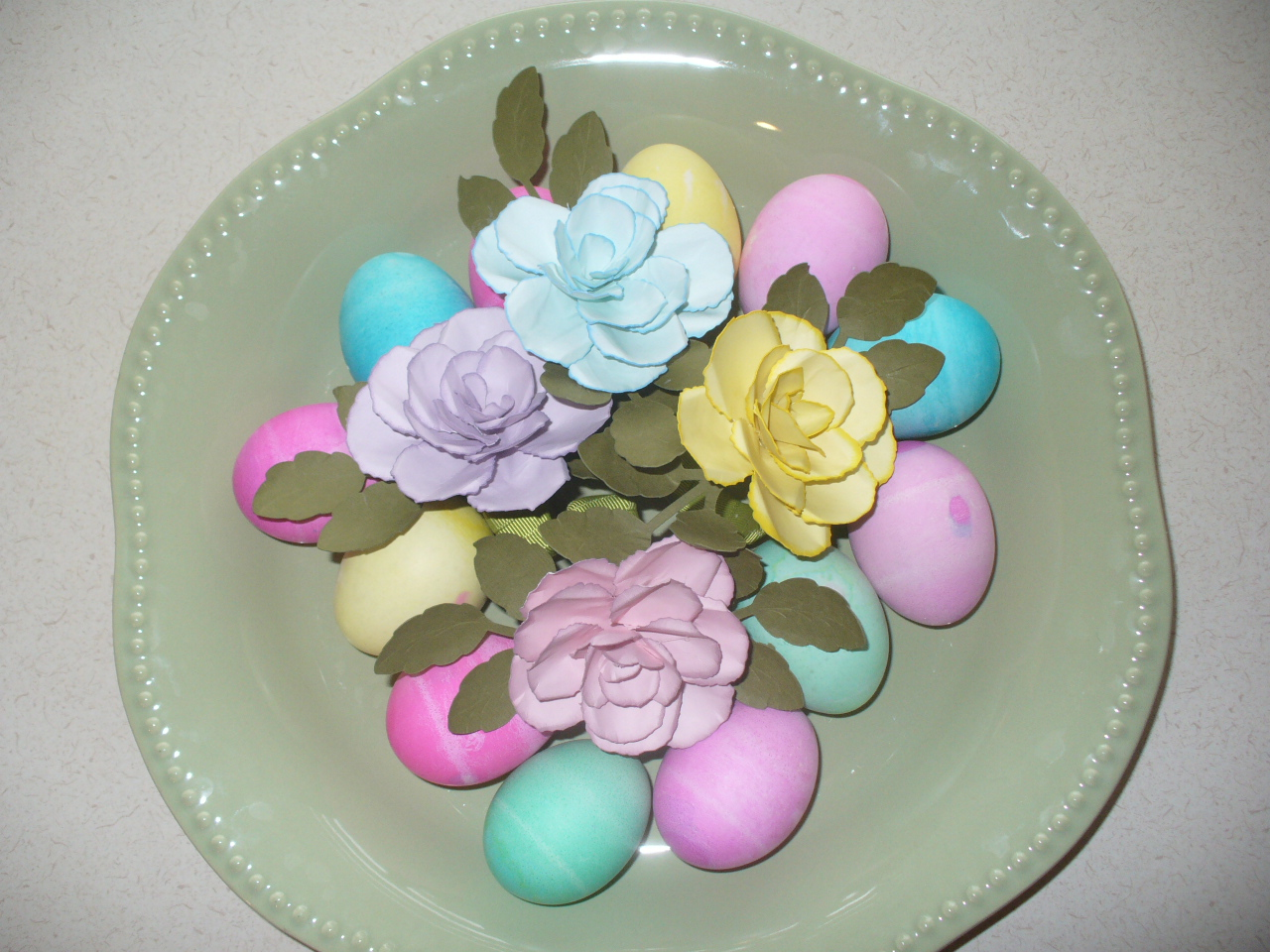 Dyed Easter Eggs With Paper Flowers Create With Dee
