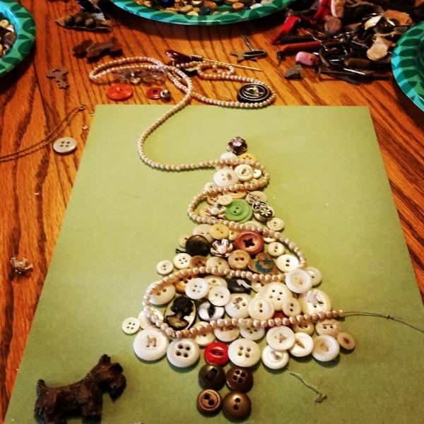 Button Christmas Trees: Family Antique Button Christmas Trees